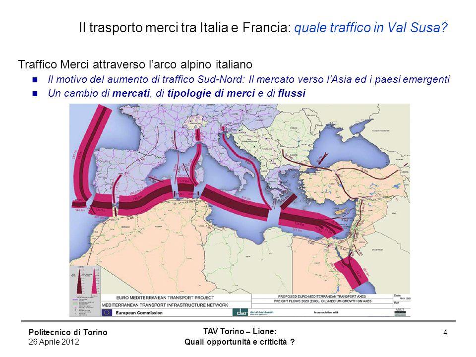 Politecnico di Torino 26 Aprile 2012 TAV Torino – Lione: Quali opportunità e criticità ? 4 Il trasporto merci tra Italia e Francia: quale traffico in