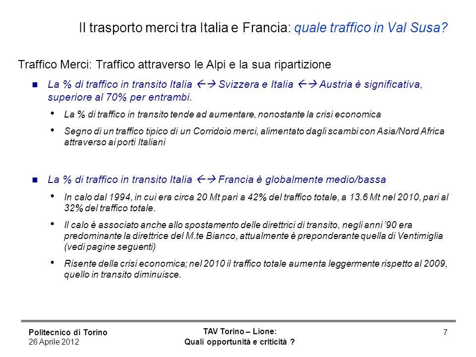Politecnico di Torino 26 Aprile 2012 TAV Torino – Lione: Quali opportunità e criticità ? 7 Il trasporto merci tra Italia e Francia: quale traffico in