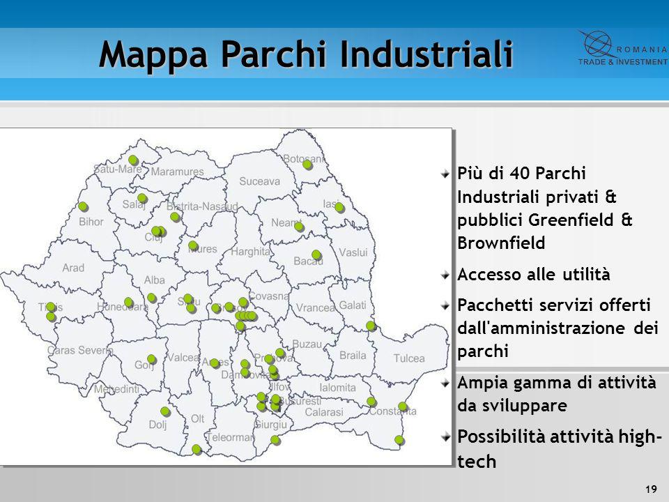 19 Mappa Parchi Industriali Più di 40 Parchi Industriali privati & pubblici Greenfield & Brownfield Accesso alle utilità Pacchetti servizi offerti dal