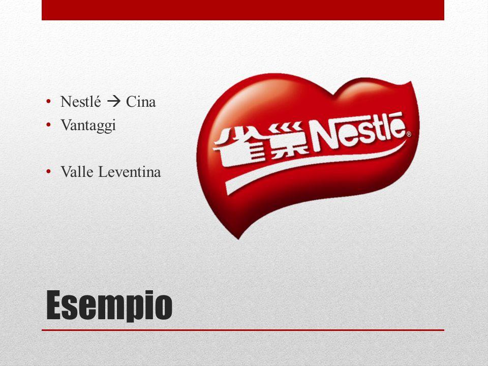 Esempio Nestlé  Cina Vantaggi Valle Leventina