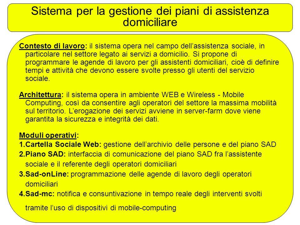 Sistema per la gestione dei piani di assistenza domiciliare Contesto di lavoro: il sistema opera nel campo dell'assistenza sociale, in particolare nel