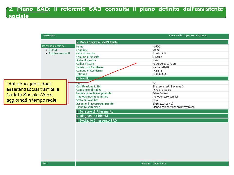 I dati sono gestiti dagli assistenti sociali tramite la Cartella Sociale Web e aggiornati in tempo reale 2. Piano SAD: il referente SAD consulta il pi