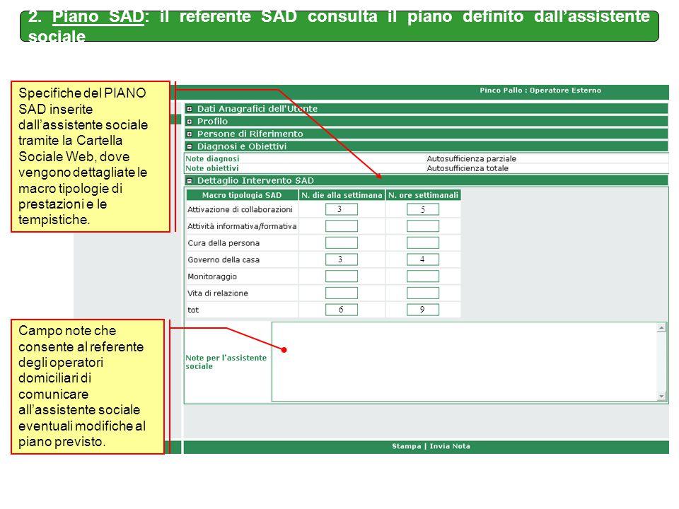 Specifiche del PIANO SAD inserite dall'assistente sociale tramite la Cartella Sociale Web, dove vengono dettagliate le macro tipologie di prestazioni