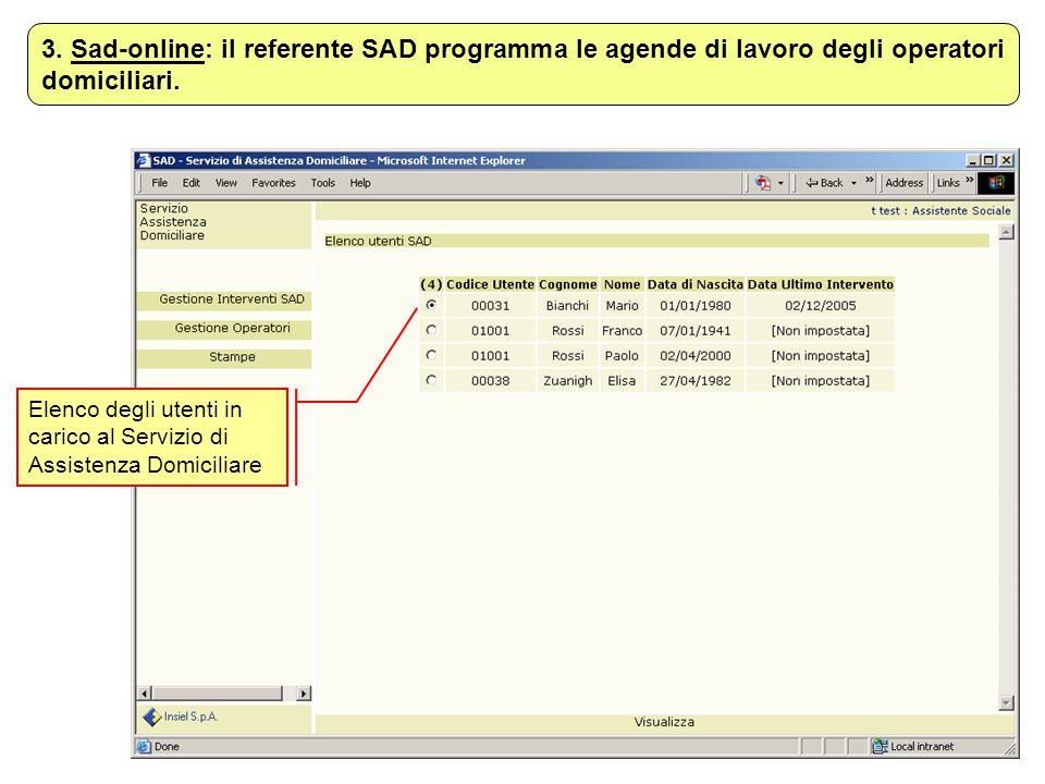 Elenco degli utenti in carico al Servizio di Assistenza Domiciliare 3. Sad-online: il referente SAD programma le agende di lavoro degli operatori domi