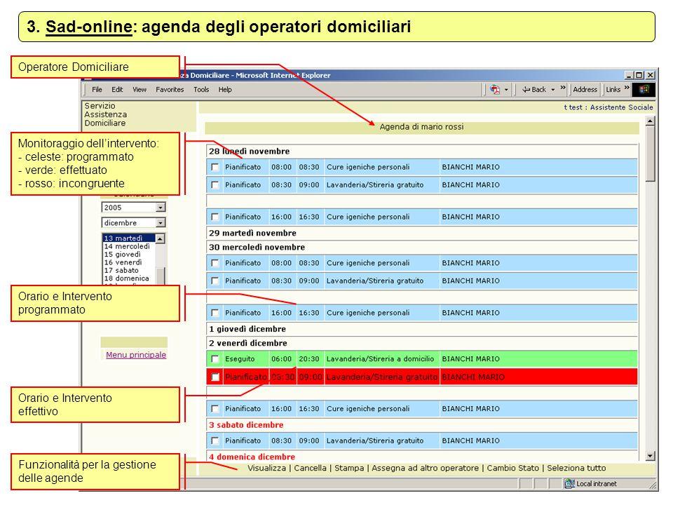 Operatore Domiciliare 3. Sad-online: agenda degli operatori domiciliari Monitoraggio dell'intervento: - celeste: programmato - verde: effettuato - ros
