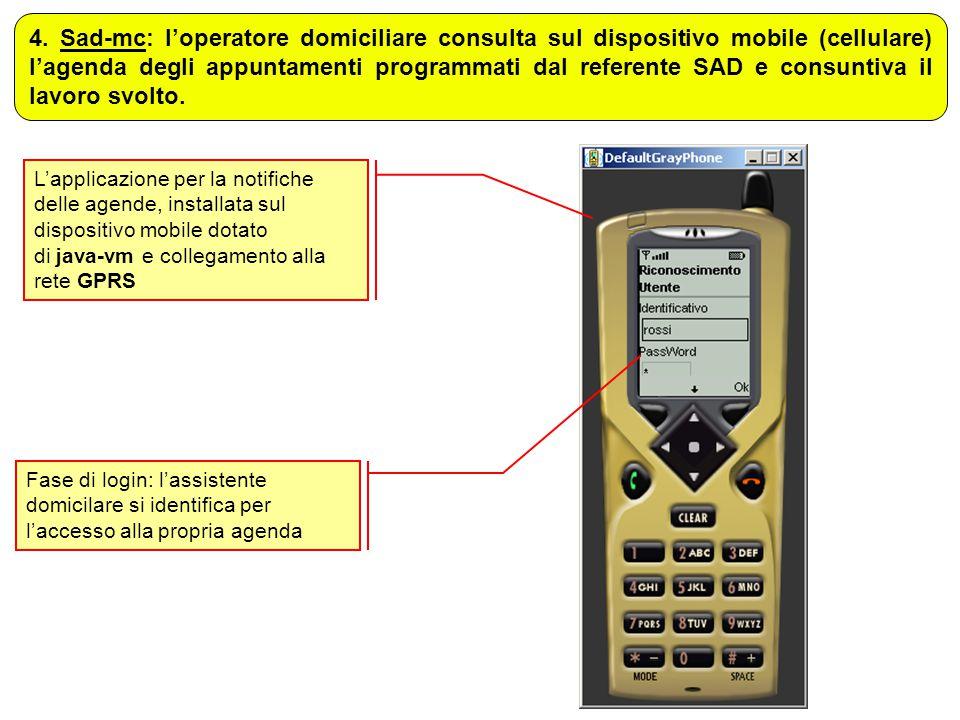 L'applicazione per la notifiche delle agende, installata sul dispositivo mobile dotato di java-vm e collegamento alla rete GPRS 4. Sad-mc: l'operatore