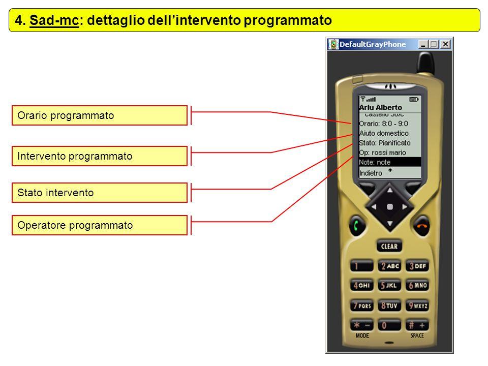 4. Sad-mc: dettaglio dell'intervento programmato Orario programmato Intervento programmato Stato intervento Operatore programmato