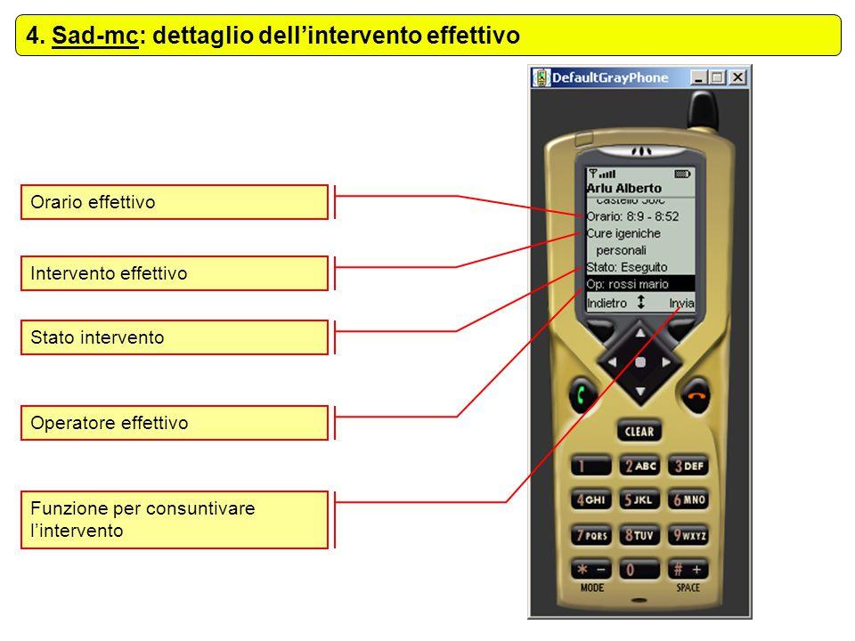4. Sad-mc: dettaglio dell'intervento effettivo Orario effettivo Intervento effettivo Stato intervento Operatore effettivo Funzione per consuntivare l'