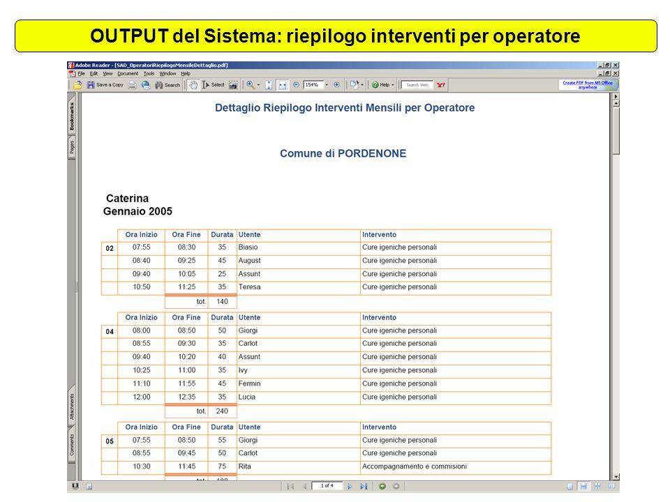 OUTPUT del Sistema: riepilogo interventi per operatore