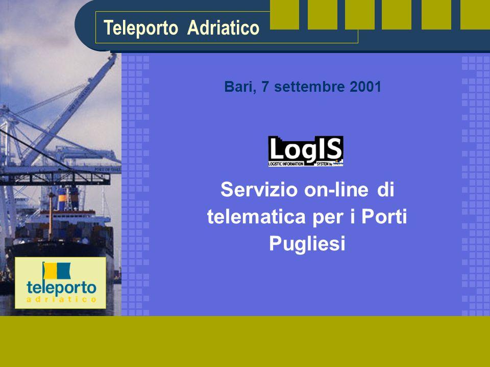 Teleporto Adriatico Servizio on-line di telematica per i Porti Pugliesi Bari, 7 settembre 2001