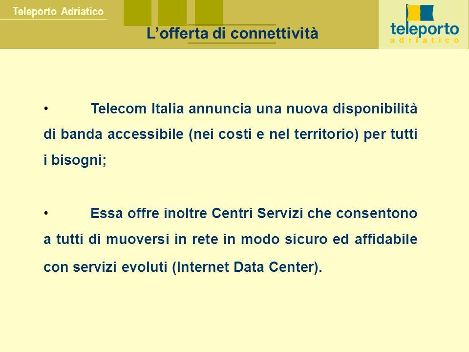 Teleporto Adriatico L'offerta di connettività Telecom Italia annuncia una nuova disponibilità di banda accessibile (nei costi e nel territorio) per tutti i bisogni; Essa offre inoltre Centri Servizi che consentono a tutti di muoversi in rete in modo sicuro ed affidabile con servizi evoluti (Internet Data Center).