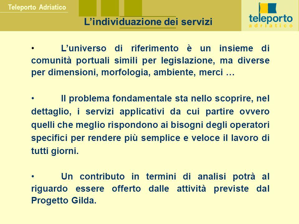 Teleporto Adriatico L'individuazione dei servizi L'universo di riferimento è un insieme di comunità portuali simili per legislazione, ma diverse per d