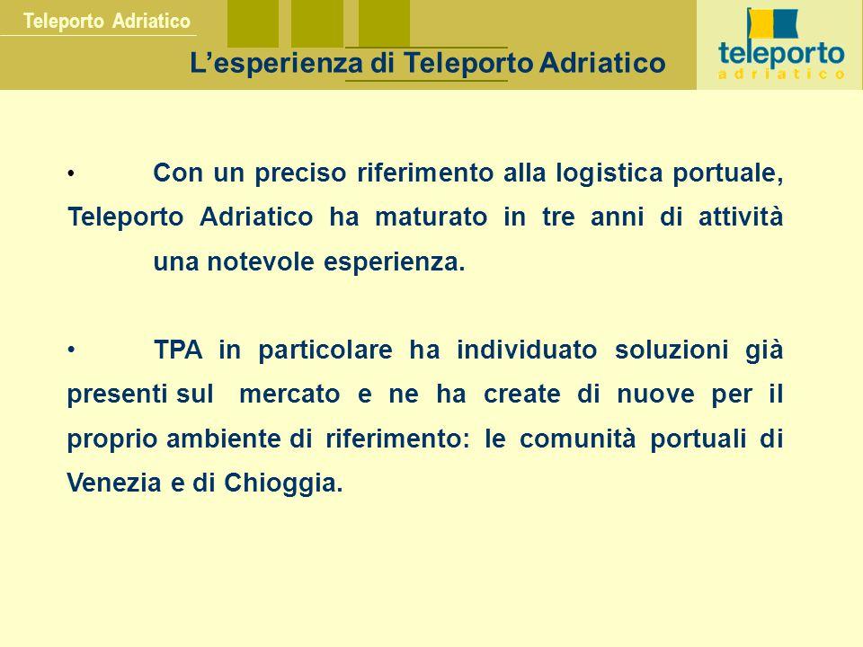 Teleporto Adriatico L'esperienza di Teleporto Adriatico Con un preciso riferimento alla logistica portuale, Teleporto Adriatico ha maturato in tre anni di attività una notevole esperienza.