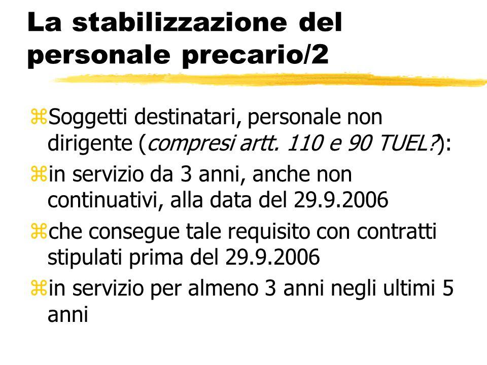 La stabilizzazione del personale precario/2 zSoggetti destinatari, personale non dirigente (compresi artt. 110 e 90 TUEL?): zin servizio da 3 anni, an
