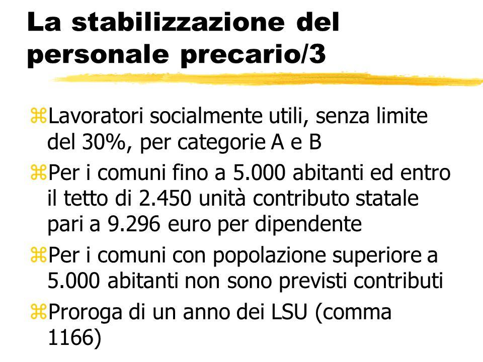 La stabilizzazione del personale precario/3 zLavoratori socialmente utili, senza limite del 30%, per categorie A e B zPer i comuni fino a 5.000 abitan
