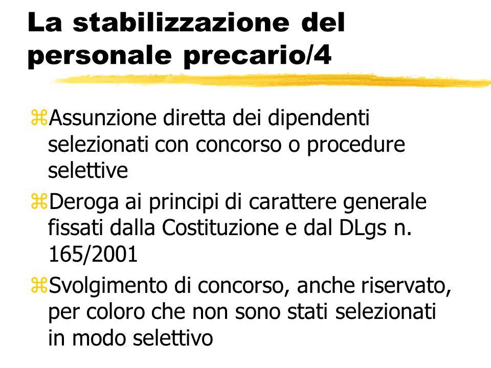La stabilizzazione del personale precario/4 zAssunzione diretta dei dipendenti selezionati con concorso o procedure selettive zDeroga ai principi di c