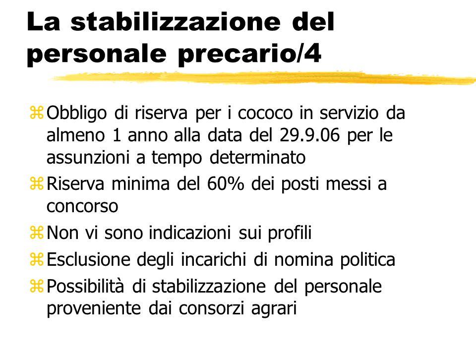 La stabilizzazione del personale precario/4 zObbligo di riserva per i cococo in servizio da almeno 1 anno alla data del 29.9.06 per le assunzioni a te