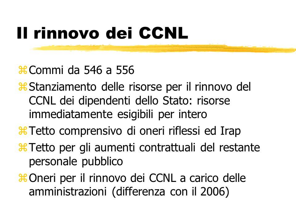 Il rinnovo dei CCNL zCommi da 546 a 556 zStanziamento delle risorse per il rinnovo del CCNL dei dipendenti dello Stato: risorse immediatamente esigibi