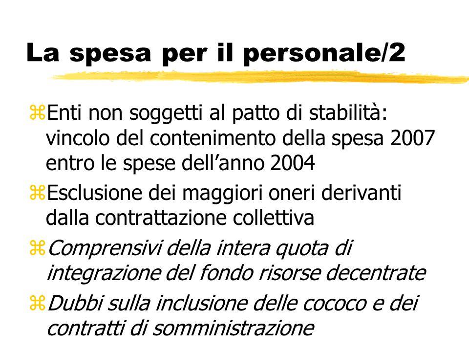 La spesa per il personale/2 zEnti non soggetti al patto di stabilità: vincolo del contenimento della spesa 2007 entro le spese dell'anno 2004 zEsclusi