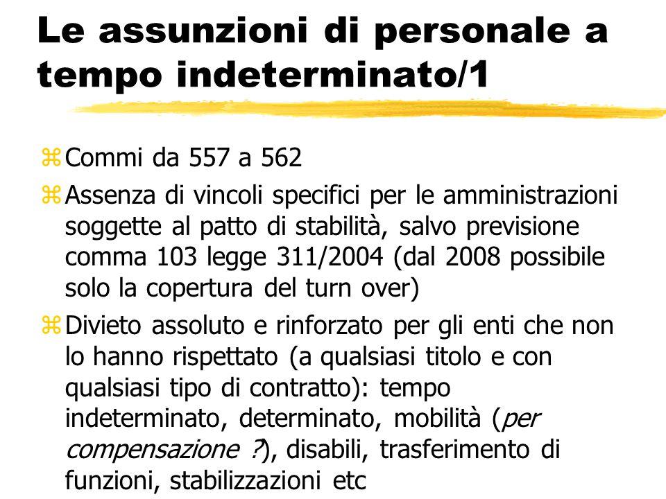 Le assunzioni di personale a tempo indeterminato/1 zCommi da 557 a 562 zAssenza di vincoli specifici per le amministrazioni soggette al patto di stabi