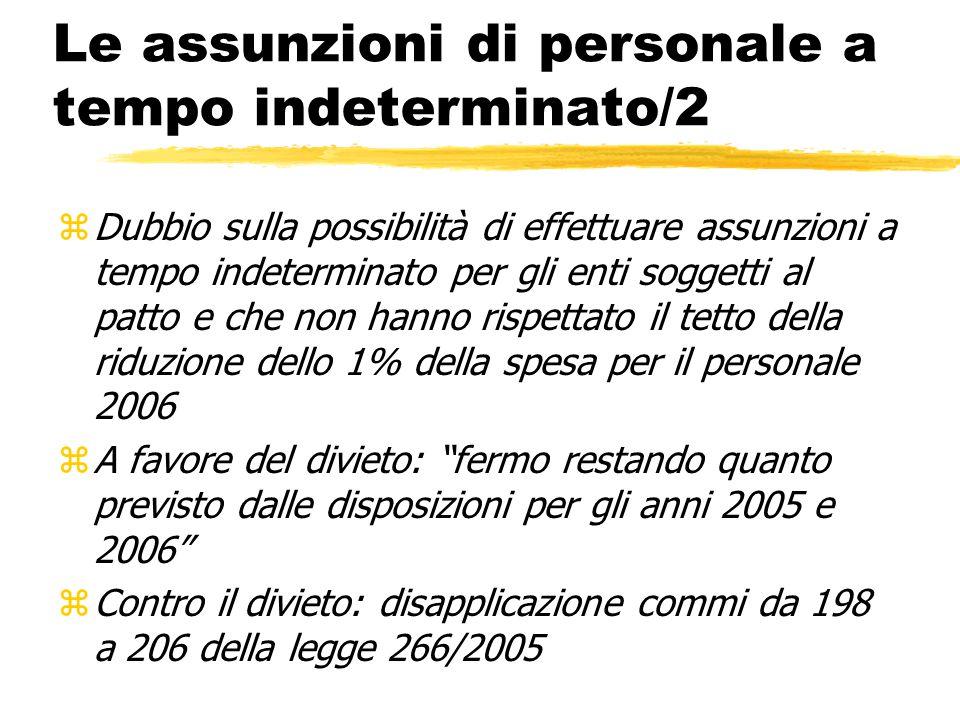 Le assunzioni di personale a tempo indeterminato/2 zDubbio sulla possibilità di effettuare assunzioni a tempo indeterminato per gli enti soggetti al p