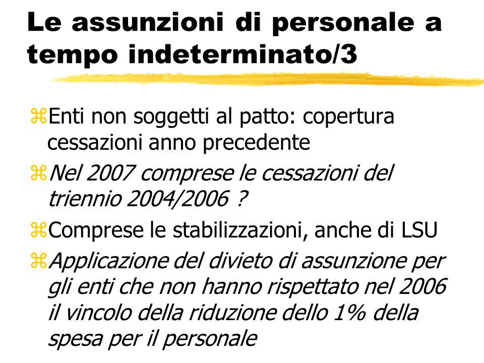 Le assunzioni di personale a tempo indeterminato/3 zEnti non soggetti al patto: copertura cessazioni anno precedente zNel 2007 comprese le cessazioni