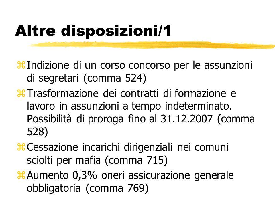 Altre disposizioni/1 zIndizione di un corso concorso per le assunzioni di segretari (comma 524) zTrasformazione dei contratti di formazione e lavoro i