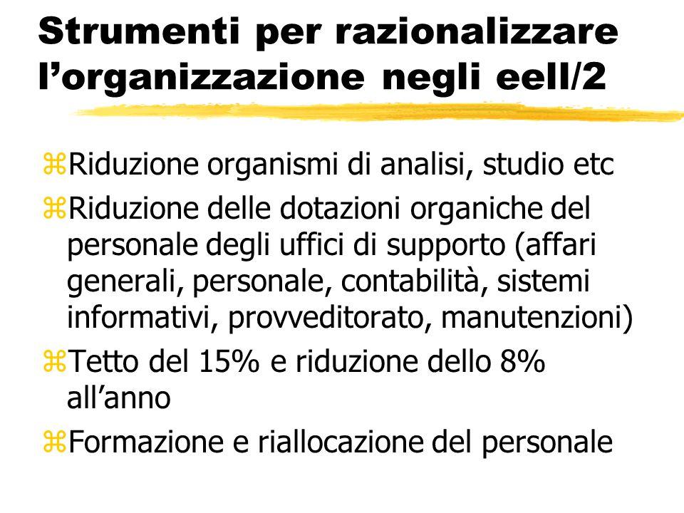 Strumenti per razionalizzare l'organizzazione negli eell/2 zRiduzione organismi di analisi, studio etc zRiduzione delle dotazioni organiche del person