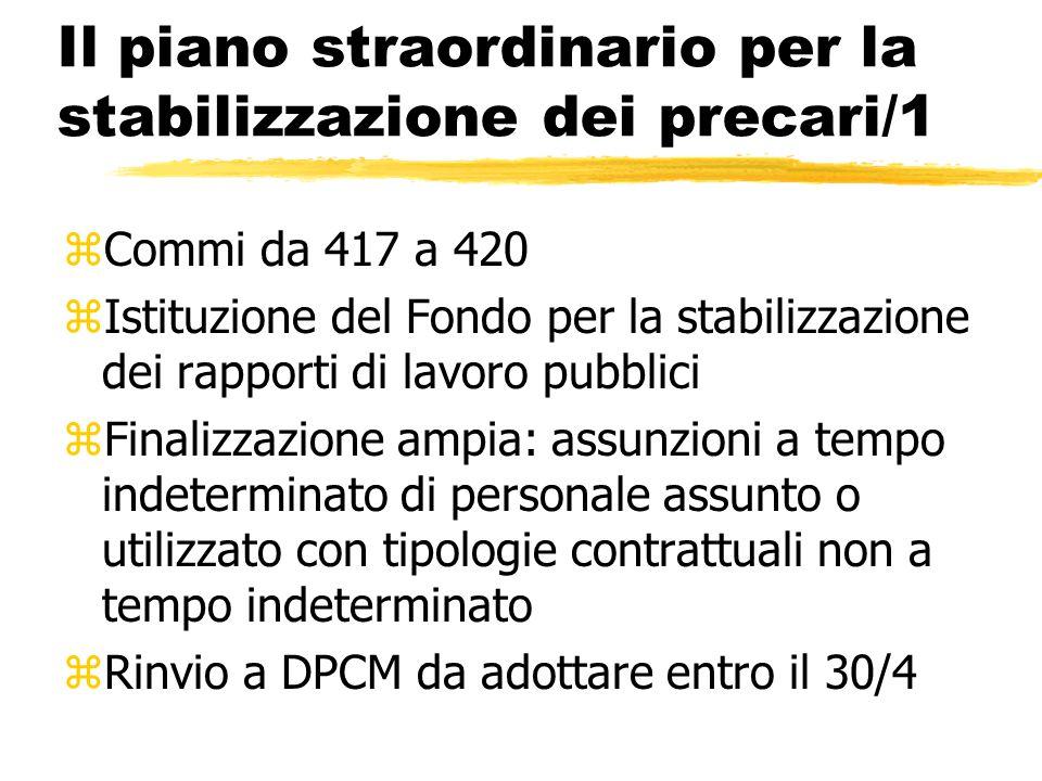 Il piano straordinario per la stabilizzazione dei precari/1 zCommi da 417 a 420 zIstituzione del Fondo per la stabilizzazione dei rapporti di lavoro p