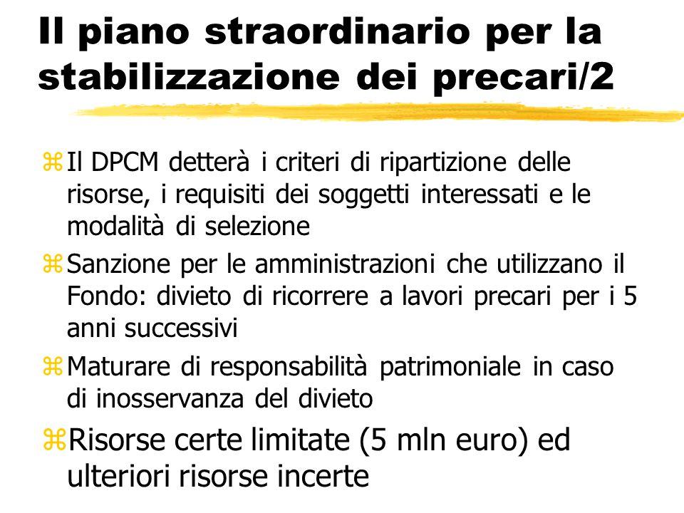 Il piano straordinario per la stabilizzazione dei precari/2 zIl DPCM detterà i criteri di ripartizione delle risorse, i requisiti dei soggetti interes
