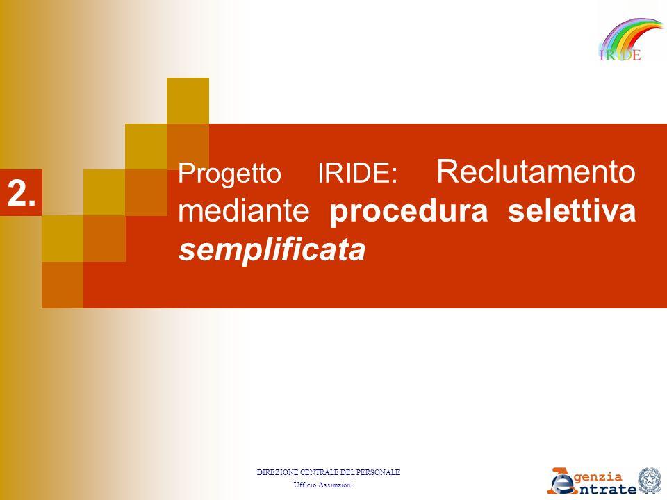 DIREZIONE CENTRALE DEL PERSONALE Ufficio Assunzioni Progetto IRIDE: Reclutamento mediante procedura selettiva semplificata 2.