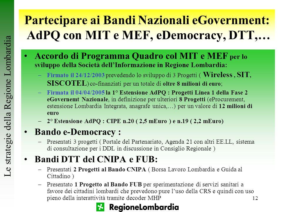 12 Partecipare ai Bandi Nazionali eGovernment: AdPQ con MIT e MEF, eDemocracy, DTT,… Le strategie della Regione Lombardia Accordo di Programma Quadro