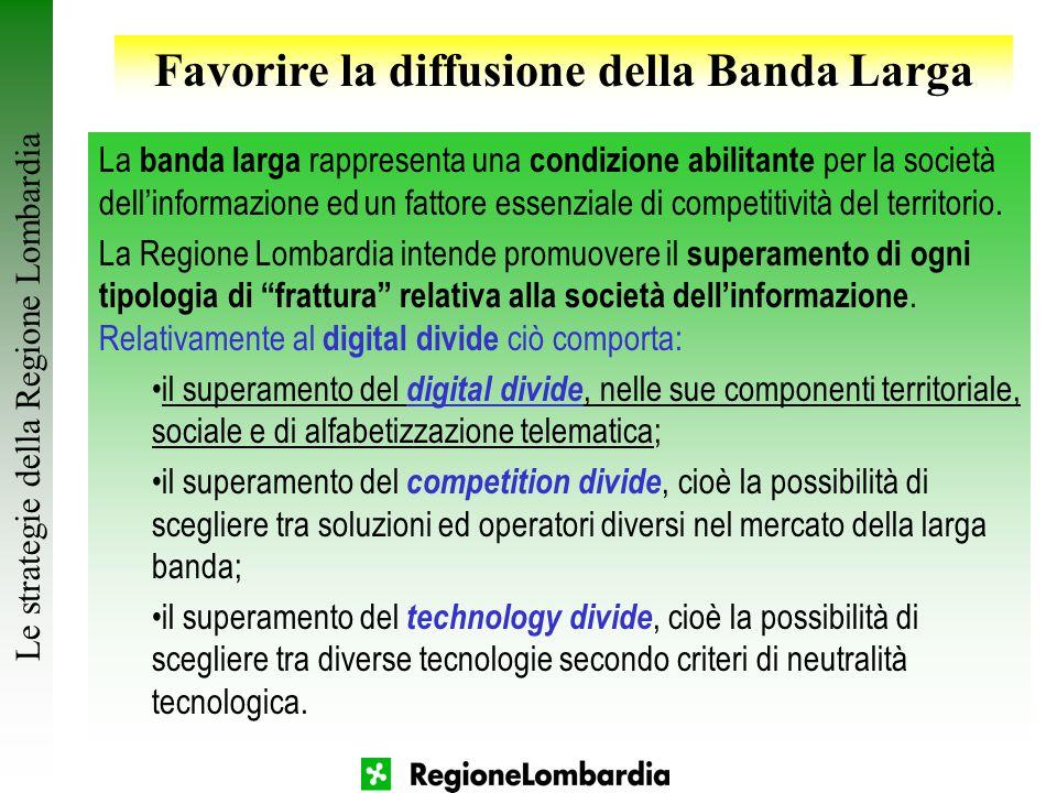 18 Le strategie della Regione Lombardia Favorire la diffusione della Banda Larga La banda larga rappresenta una condizione abilitante per la società d