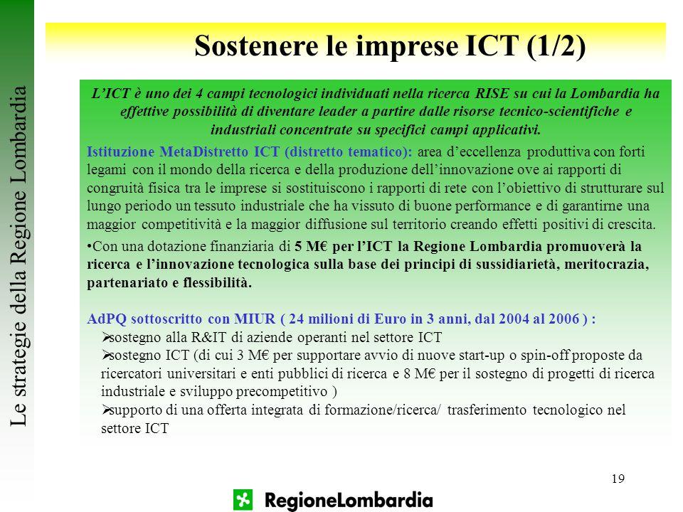 19 Sostenere le imprese ICT (1/2) L'ICT è uno dei 4 campi tecnologici individuati nella ricerca RISE su cui la Lombardia ha effettive possibilità di d