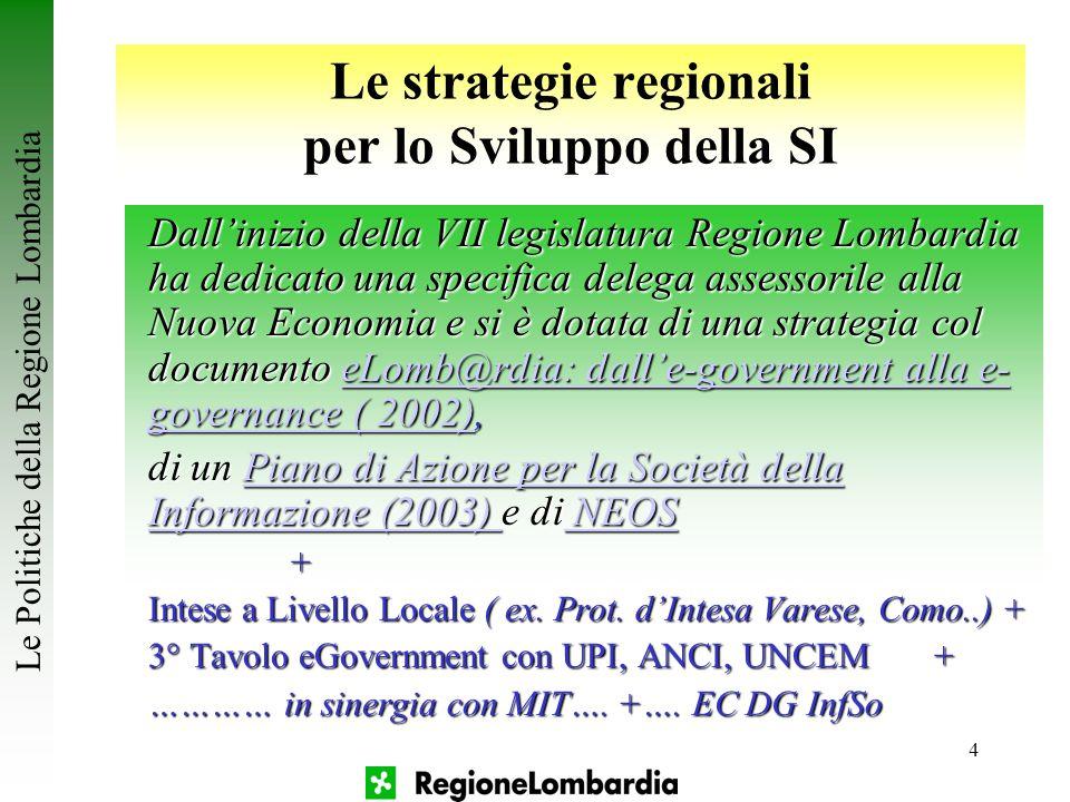 4 Le strategie regionali per lo Sviluppo della SI Dall'inizio della VII legislatura Regione Lombardia ha dedicato una specifica delega assessorile all