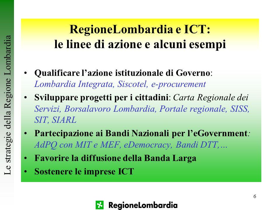 6 Le strategie della Regione Lombardia RegioneLombardia e ICT: le linee di azione e alcuni esempi Qualificare l'azione istituzionale di Governo: Lomba