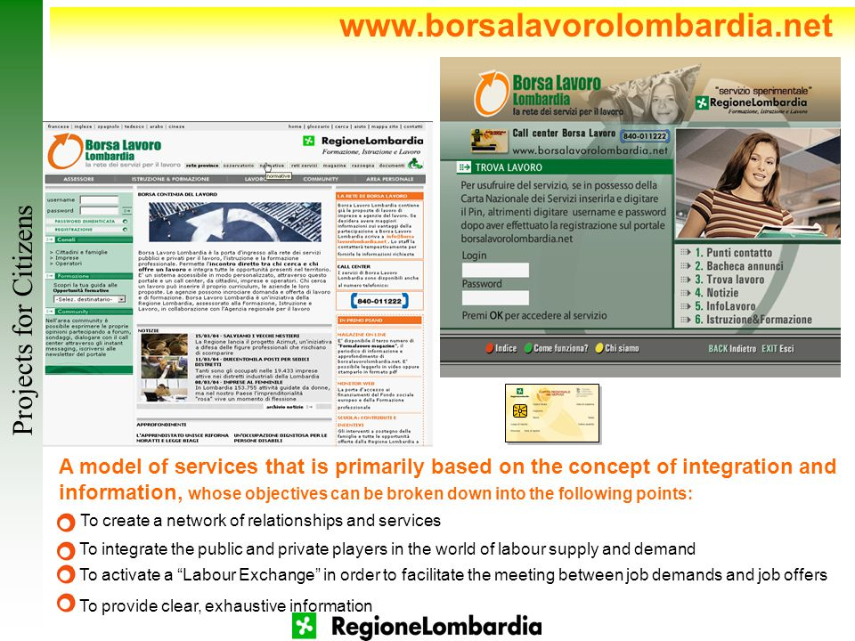 www.borsalavorolombardia.net A model of services that is primarily based on the concept of integration and information, whose objectives can be broken down into the following points: To integrate the public and private players in the world of labour supply and demand To create a network of relationships and services To activate a Labour Exchange in order to facilitate the meeting between job demands and job offers To provide clear, exhaustive information Projects for Citizens