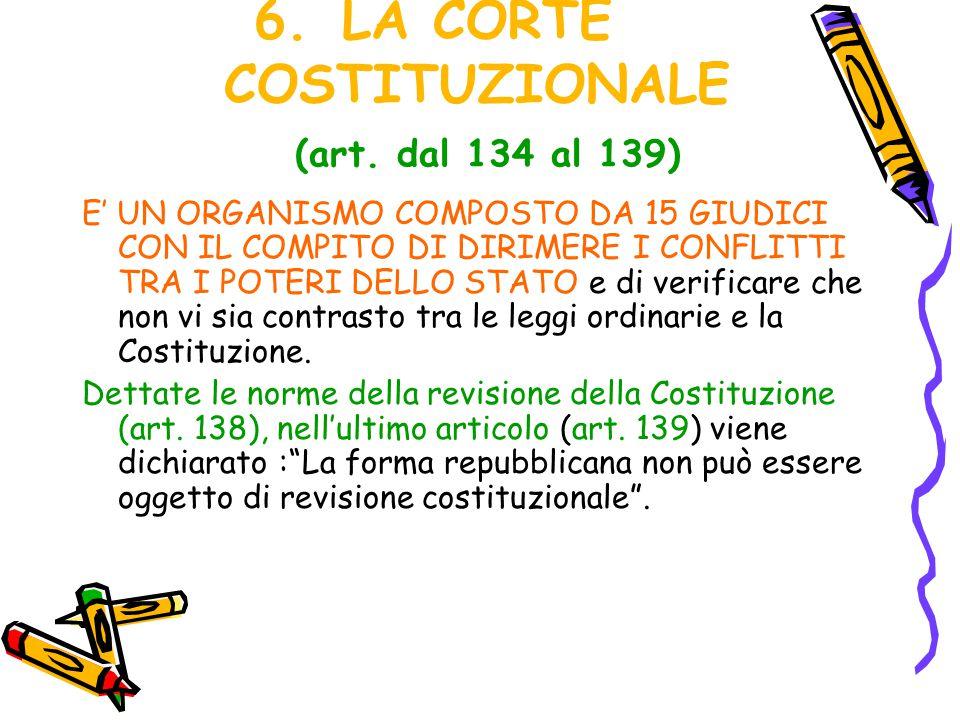 6.LA CORTE COSTITUZIONALE (art. dal 134 al 139) E' UN ORGANISMO COMPOSTO DA 15 GIUDICI CON IL COMPITO DI DIRIMERE I CONFLITTI TRA I POTERI DELLO STATO