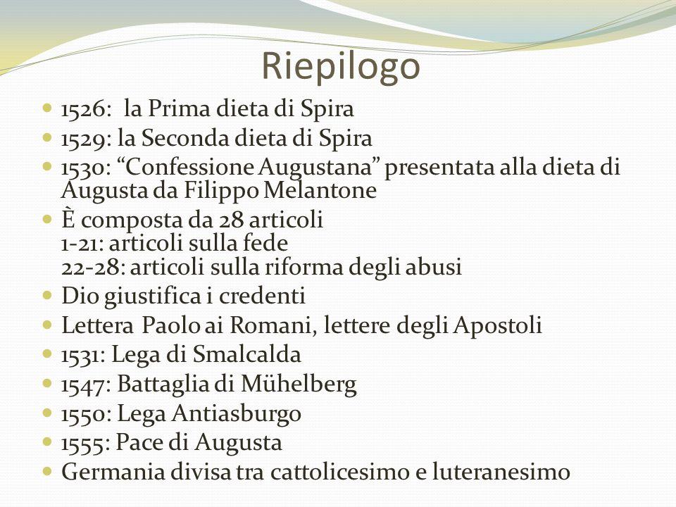 """Riepilogo 1526: la Prima dieta di Spira 1529: la Seconda dieta di Spira 1530: """"Confessione Augustana"""" presentata alla dieta di Augusta da Filippo Mela"""