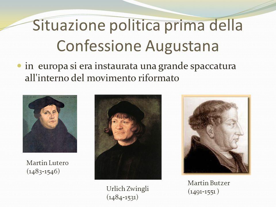 in europa si era instaurata una grande spaccatura all'interno del movimento riformato Martin Lutero (1483-1546) Urlich Zwingli (1484-1531) Martin Butz