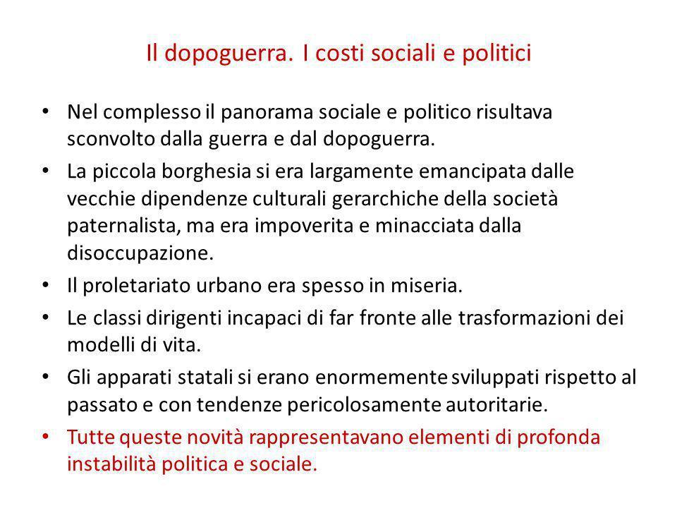 Il dopoguerra. I costi sociali e politici Nel complesso il panorama sociale e politico risultava sconvolto dalla guerra e dal dopoguerra. La piccola b