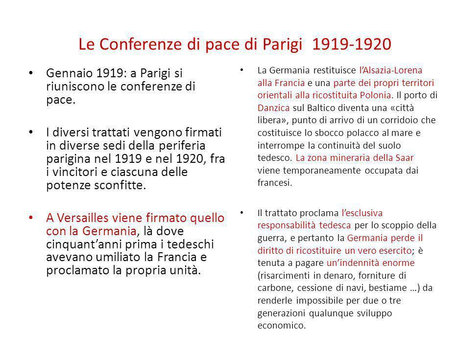 Le Conferenze di pace di Parigi 1919-1920 Gennaio 1919: a Parigi si riuniscono le conferenze di pace. I diversi trattati vengono firmati in diverse se