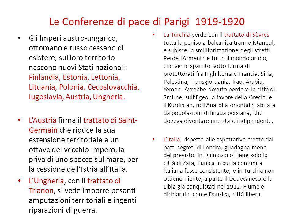 Le Conferenze di pace di Parigi 1919-1920 Gli Imperi austro-ungarico, ottomano e russo cessano di esistere; sul loro territorio nascono nuovi Stati na