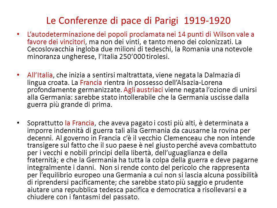 Le Conferenze di pace di Parigi 1919-1920 L'autodeterminazione dei popoli proclamata nei 14 punti di Wilson vale a favore dei vincitori, ma non dei vi