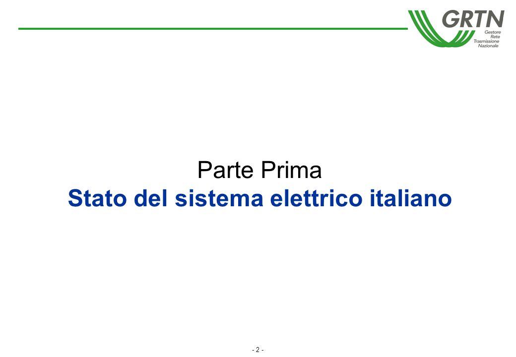 - 2 - Parte Prima Stato del sistema elettrico italiano
