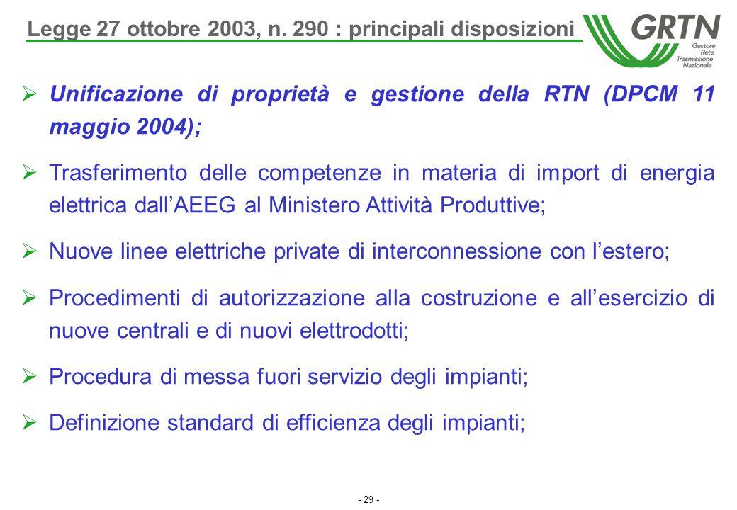- 29 -  Unificazione di proprietà e gestione della RTN (DPCM 11 maggio 2004);  Trasferimento delle competenze in materia di import di energia elettr