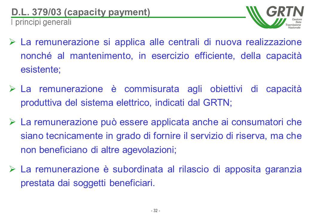 - 32 -  La remunerazione si applica alle centrali di nuova realizzazione nonché al mantenimento, in esercizio efficiente, della capacità esistente; 