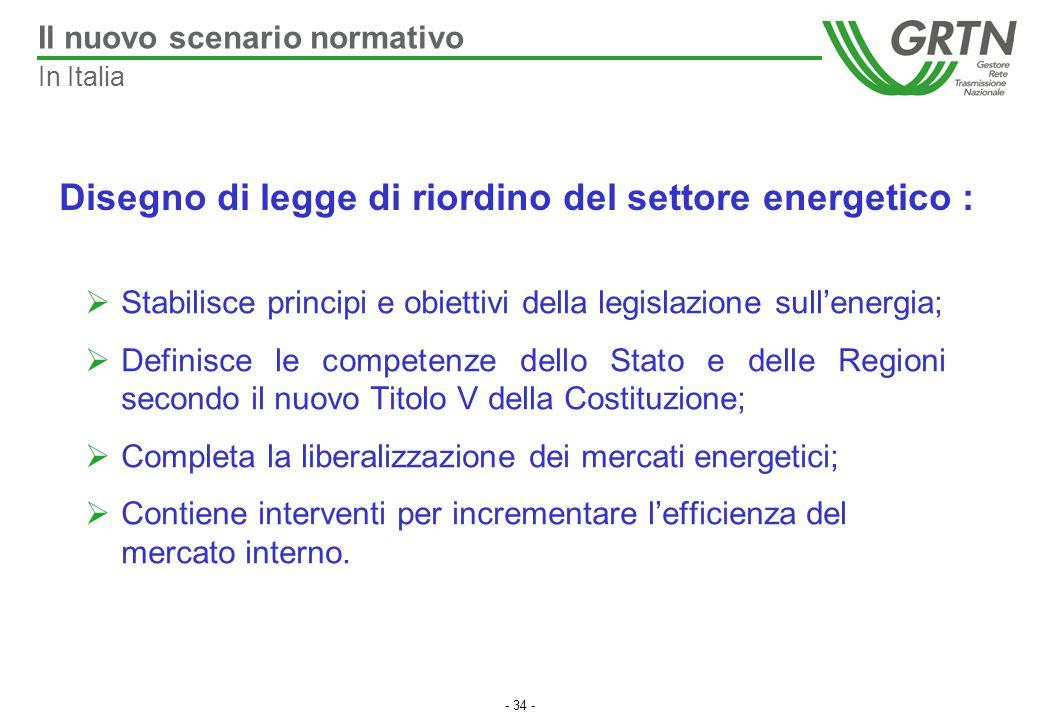 - 34 -  Stabilisce principi e obiettivi della legislazione sull'energia;  Definisce le competenze dello Stato e delle Regioni secondo il nuovo Titol