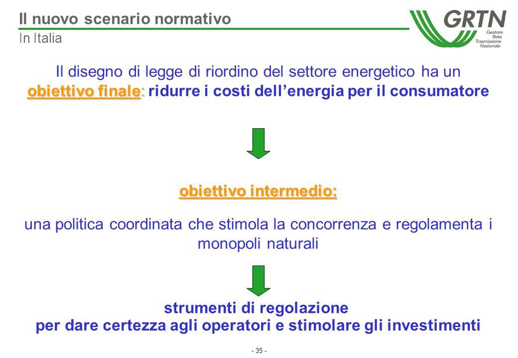 - 35 - Il disegno di legge di riordino del settore energetico ha un obiettivo finale: obiettivo finale: ridurre i costi dell'energia per il consumator