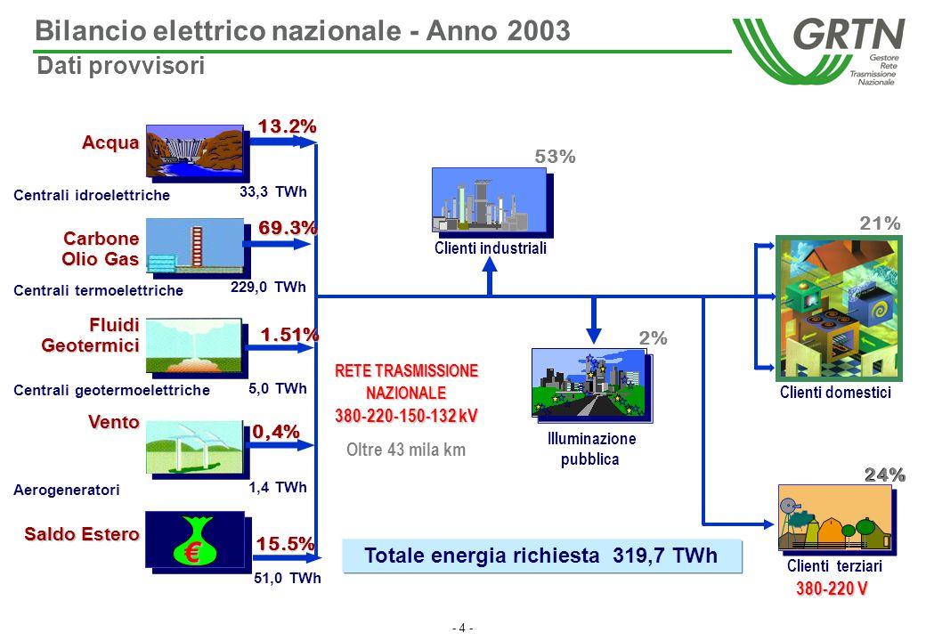 - 4 - Bilancio elettrico nazionale - Anno 2003 Acqua Vento Fluidi Geotermici Aerogeneratori Centrali geotermoelettriche Centrali idroelettriche Client